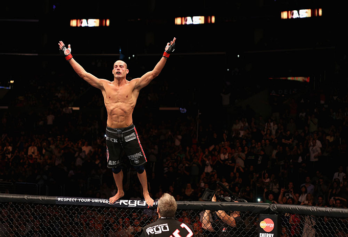Mike Swick celebrates defeating Damarques Johnson during the UFC on FOX at Staples Center on August 4, 2012 in Los Angeles, CA. (Photo by Josh Hedges/Zuffa LLC)