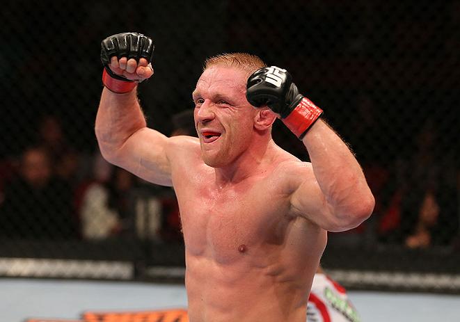 SEATTLE, WA - DECEMBER 08:  Dennis Siver reacts after his victory over Nam Phan during their featherweight bout at the UFC on FOX event on December 8, 2012  at Key Arena in Seattle, Washington.  (Photo by Ezra Shaw/Zuffa LLC/Zuffa LLC via Getty Images) *** Local Caption *** Dennis Siver