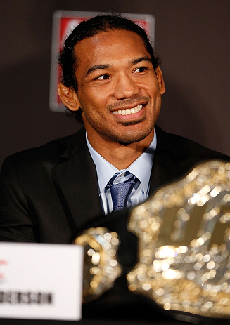 SEATTLE, WA - DECEMBER 06:  Benson Henderson interacts with media during the UFC on FOX press conference on December 6, 2012 at Key Arena in Seattle, Washington.  (Photo by Josh Hedges/Zuffa LLC/Zuffa LLC via Getty Images)