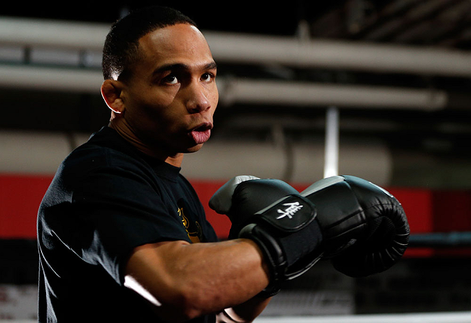 CHICAGO, IL - JANUARY 23:  John Dodson conducts an open workout session for media on January 23, 2013 at UFC Gym in Chicago, Illinois. (Photo by Josh Hedges/Zuffa LLC/Zuffa LLC via Getty Images)