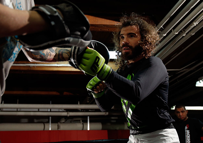 CHICAGO, IL - JANUARY 23:  Clay Guida conducts an open workout session for media on January 23, 2013 at UFC Gym in Chicago, Illinois. (Photo by Josh Hedges/Zuffa LLC/Zuffa LLC via Getty Images)