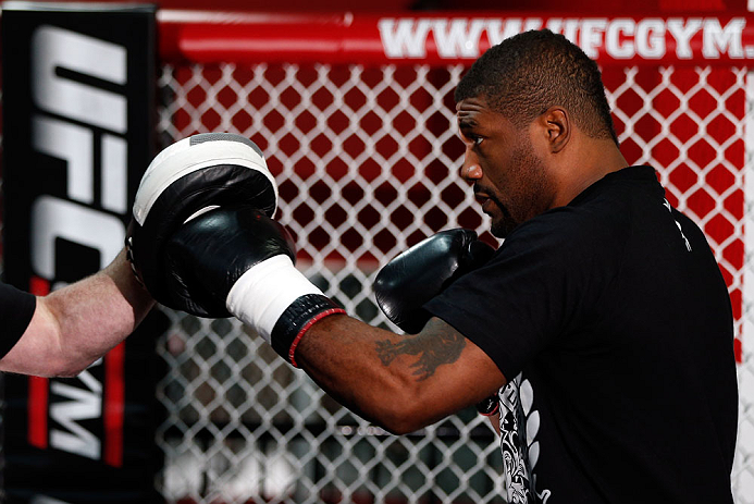 "CHICAGO, IL - JANUARY 23:  Quinton ""Rampage"" Jackson conducts an open workout session for media on January 23, 2013 at UFC Gym in Chicago, Illinois. (Photo by Josh Hedges/Zuffa LLC/Zuffa LLC via Getty Images)"