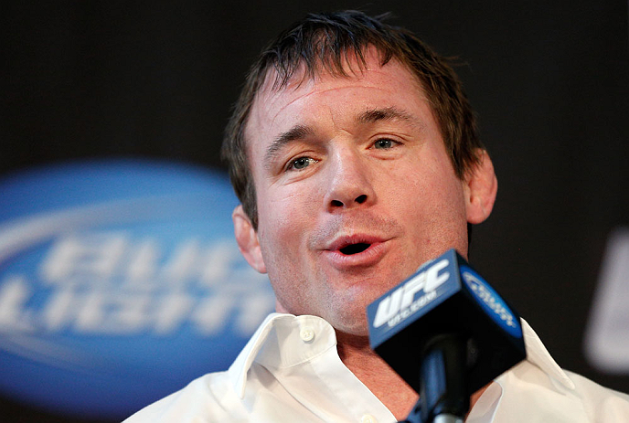 CHICAGO, IL - JANUARY 24:  UFC Hall of Famer Matt Hughes announces his retirement from fighting during the UFC on FOX press conference on January 24, 2013 at the United Center in Chicago, Illinois. (Photo by Josh Hedges/Zuffa LLC/Zuffa LLC via Getty Images)