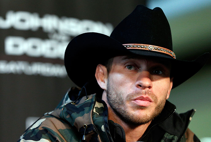 "CHICAGO, IL - JANUARY 24:  Donald ""Cowboy"" Cerrone interacts with media during the UFC on FOX press conference on January 24, 2013 at the United Center in Chicago, Illinois. (Photo by Josh Hedges/Zuffa LLC/Zuffa LLC via Getty Images)"