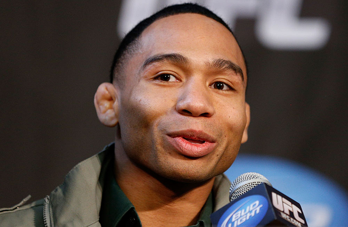CHICAGO, IL - JANUARY 24:  John Dodson interacts with media during the UFC on FOX press conference on January 24, 2013 at the United Center in Chicago, Illinois. (Photo by Josh Hedges/Zuffa LLC/Zuffa LLC via Getty Images)