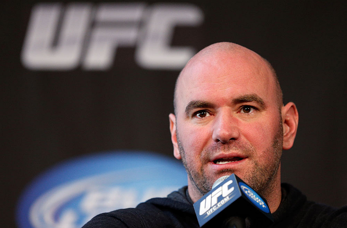 CHICAGO, IL - JANUARY 24:  UFC President Dana White interacts with media during the UFC on FOX press conference on January 24, 2013 at the United Center in Chicago, Illinois. (Photo by Josh Hedges/Zuffa LLC/Zuffa LLC via Getty Images)