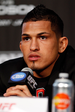 CHICAGO, IL - JANUARY 24:  Anthony Pettis interacts with media during the UFC on FOX press conference on January 24, 2013 at the United Center in Chicago, Illinois. (Photo by Josh Hedges/Zuffa LLC/Zuffa LLC via Getty Images)