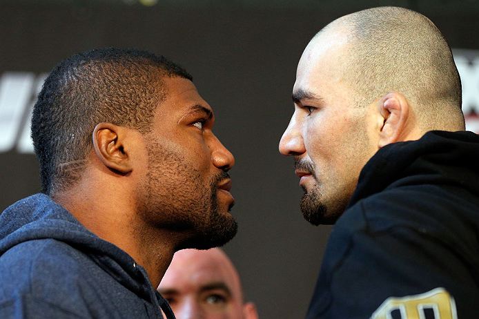 "CHICAGO, IL - JANUARY 24:  (L-R) Opponents Quinton ""Rampage"" Jackson and Glover Teixeira face off during the UFC on FOX press conference on January 24, 2013 at the United Center in Chicago, Illinois. (Photo by Josh Hedges/Zuffa LLC/Zuffa LLC via Getty Images)"
