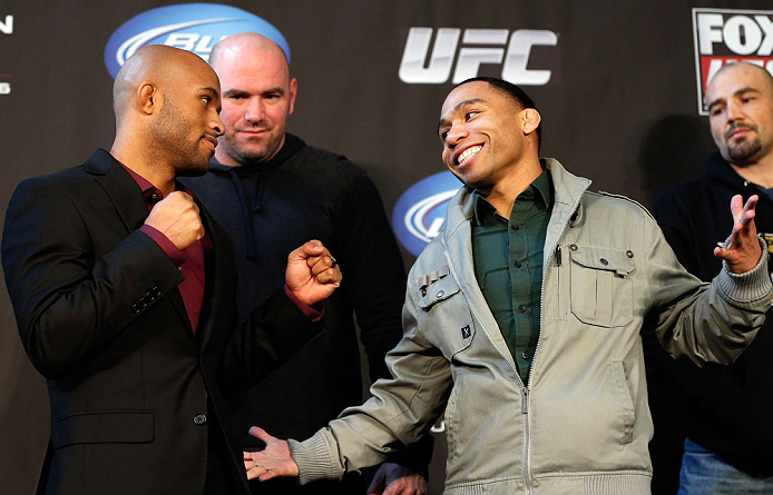"CHICAGO, IL - JANUARY 24:  (L-R) Opponents Demetrious ""Mighty Mouse"" Johnson and John Dodson face off during the UFC on FOX press conference on January 24, 2013 at the United Center in Chicago, Illinois. (Photo by Josh Hedges/Zuffa LLC/Zuffa LLC via Getty Images)"