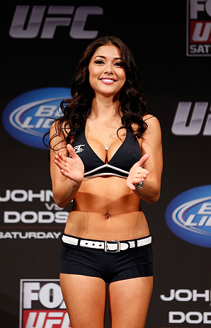 CHICAGO, IL - JANUARY 25:  UFC Octagon Girl Arianny Celeste stands on stage during the UFC on FOX weigh-in on January 25, 2013 at the Chicago Theatre in Chicago, Illinois. (Photo by Josh Hedges/Zuffa LLC/Zuffa LLC via Getty Images)