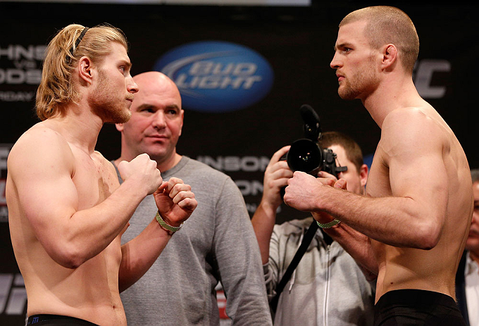CHICAGO, IL - JANUARY 25:  (L-R) Opponents Mike Stumpf and Pascal Krauss face off during the UFC on FOX weigh-in on January 25, 2013 at the Chicago Theatre in Chicago, Illinois. (Photo by Josh Hedges/Zuffa LLC/Zuffa LLC via Getty Images)