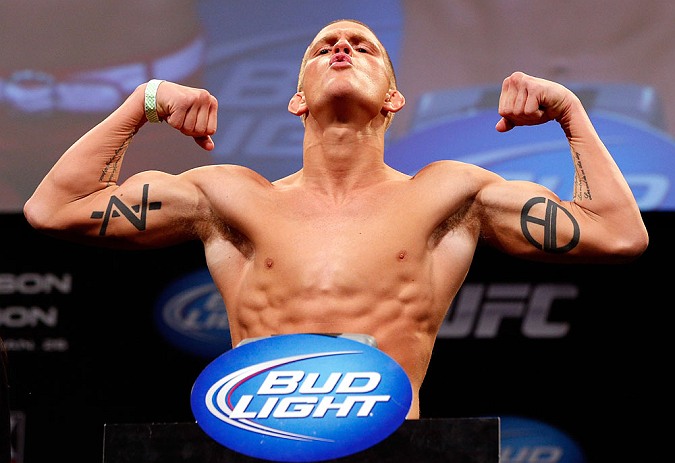CHICAGO, IL - JANUARY 25:  Erik Koch weighs in during the UFC on FOX weigh-in on January 25, 2013 at the Chicago Theatre in Chicago, Illinois. (Photo by Josh Hedges/Zuffa LLC/Zuffa LLC via Getty Images)