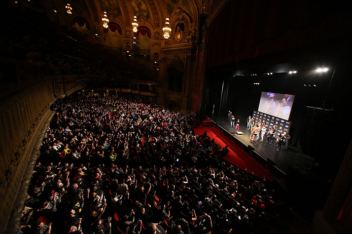 "CHICAGO, IL - JANUARY 25:  A general view of the theatre as Anthony Pettis and Donald ""Cowboy"" Cerrone face off during the UFC on FOX weigh-in on January 25, 2013 at the Chicago Theatre in Chicago, Illinois. (Photo by Josh Hedges/Zuffa LLC/Zuffa LLC via Getty Images)"