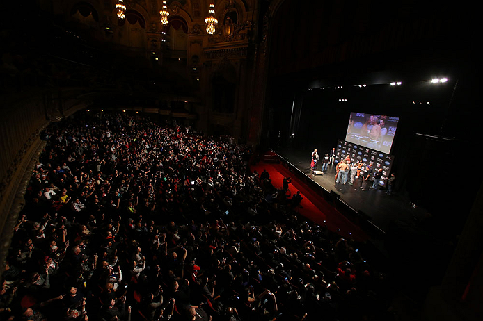 CHICAGO, IL - JANUARY 25:  A general view of the theatre as Quinton &quot;Rampage&quot; Jackson and Glover Teixeira face off during the UFC on FOX weigh-in on January 25, 2013 at the Chicago Theatre in Chicago, Illinois. (Photo by Josh Hedges/Zuffa LLC/Zuffa LLC via Getty Images)