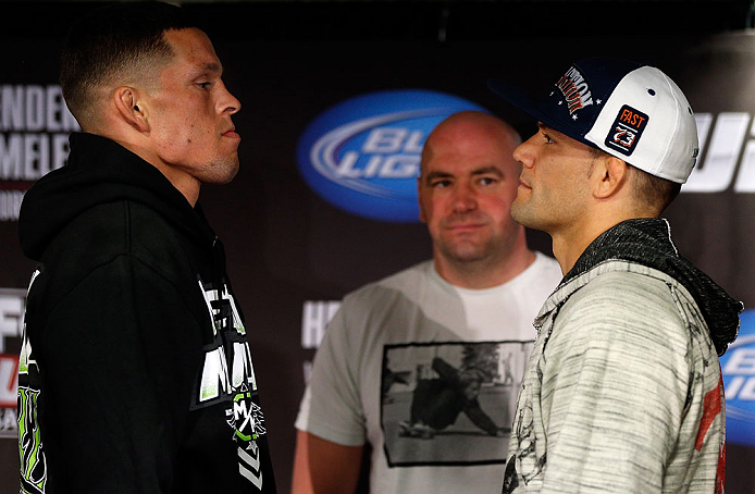 SAN JOSE, CA - APRIL 18:   (L-R) Opponents Nate Diaz and Josh Thomson face off during media day ahead of the UFC on FOX event at HP Pavilion on April 18, 2013 in San Jose, California.  (Photo by Josh Hedges/Zuffa LLC/Zuffa LLC via Getty Images)