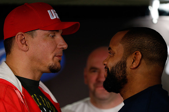 SAN JOSE, CA - APRIL 18:   (L-R) Opponents Frank Mir and Daniel Cormier face off during media day ahead of the UFC on FOX event at HP Pavilion on April 18, 2013 in San Jose, California.  (Photo by Josh Hedges/Zuffa LLC/Zuffa LLC via Getty Images)