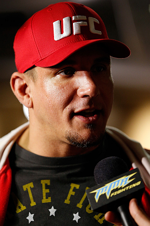 SAN JOSE, CA - APRIL 18:   Frank Mir conducts interviews during media day ahead of the UFC on FOX event at HP Pavilion on April 18, 2013 in San Jose, California.  (Photo by Josh Hedges/Zuffa LLC/Zuffa LLC via Getty Images)
