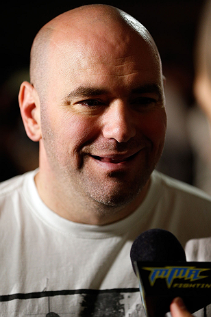 SAN JOSE, CA - APRIL 18:   UFC President Dana White conducts interviews during media day ahead of the UFC on FOX event at HP Pavilion on April 18, 2013 in San Jose, California.  (Photo by Josh Hedges/Zuffa LLC/Zuffa LLC via Getty Images)