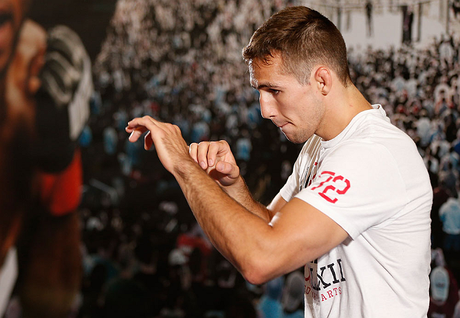 SEATTLE, WA - JULY 24: Rory MacDonald] conducts an open training session for fans and media at the Seattle Center Pavilion on July 24, 2013 in Seattle, Washington. (Photo by Josh Hedges/Zuffa LLC/Zuffa LLC via Getty Images)