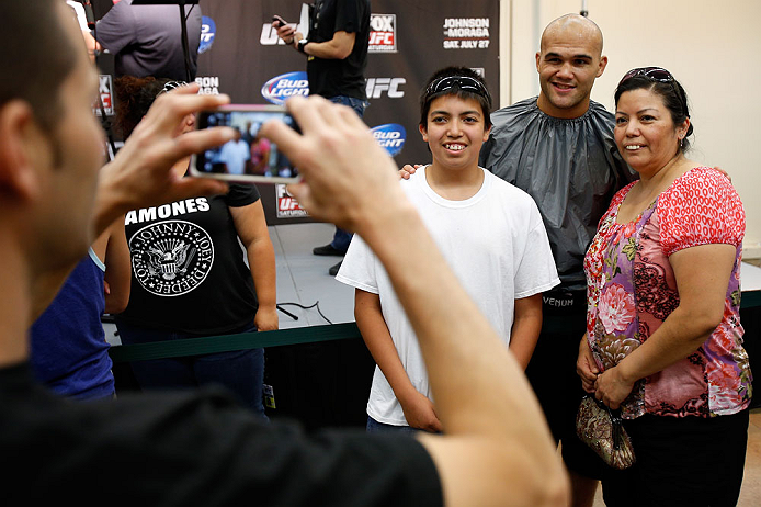 SEATTLE, WA - JULY 24: Robbie Lawler greets fans after an open workout session at the Seattle Center Pavilion on July 24, 2013 in Seattle, Washington. (Photo by Josh Hedges/Zuffa LLC/Zuffa LLC via Getty Images)