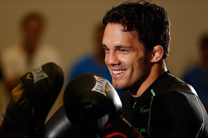 SEATTLE, WA - JULY 24: Jake Ellenberger conducts an open training session for fans and media at the Seattle Center Pavilion on July 24, 2013 in Seattle, Washington. (Photo by Josh Hedges/Zuffa LLC/Zuffa LLC via Getty Images)