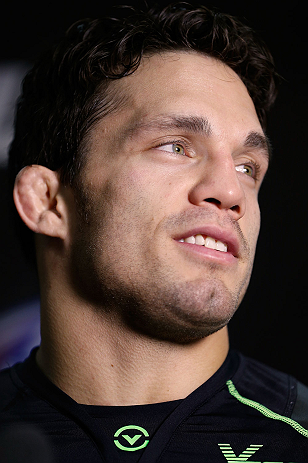 SEATTLE, WA - JULY 24: Jake Ellenberger interacts with media at the Seattle Center Pavilion on July 24, 2013 in Seattle, Washington. (Photo by Josh Hedges/Zuffa LLC/Zuffa LLC via Getty Images)