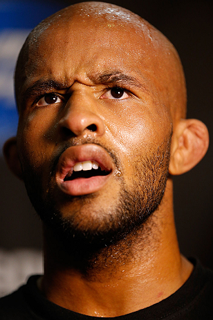 SEATTLE, WA - JULY 24: Demetrious Johnson interacts with media at the Seattle Center Pavilion on July 24, 2013 in Seattle, Washington. (Photo by Josh Hedges/Zuffa LLC/Zuffa LLC via Getty Images)