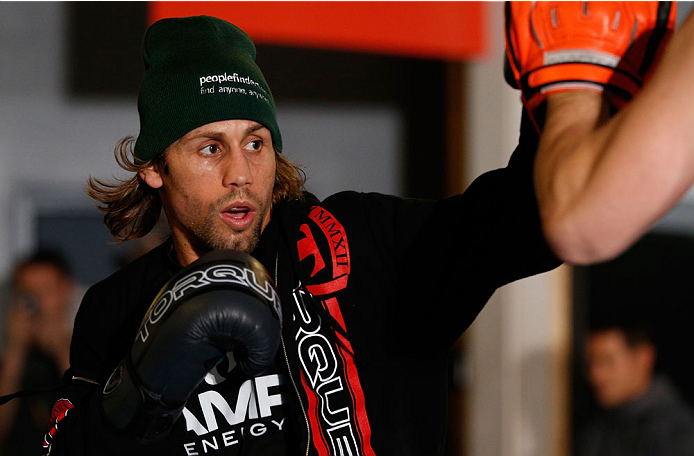SACRAMENTO, CA - DECEMBER 11:  Urijah Faber holds and open training session for media at Ultimate Fitness on December 11, 2013 in Sacramento, California. (Photo by Josh Hedges/Zuffa LLC/Zuffa LLC via Getty Images)