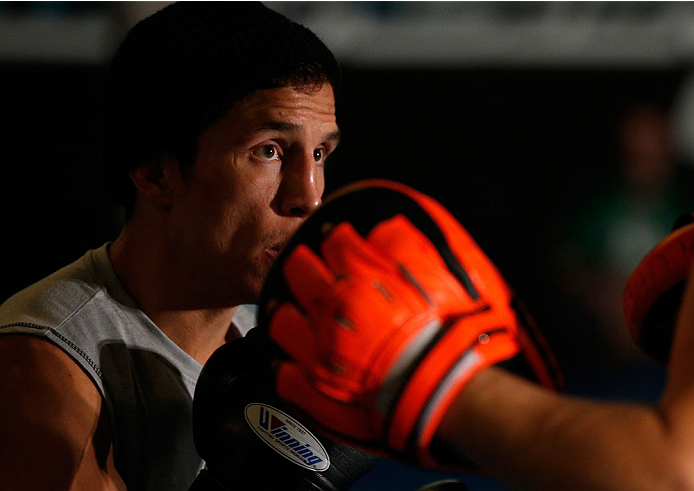 SACRAMENTO, CA - DECEMBER 11:  Joseph Benavidez holds and open training session for media at Ultimate Fitness on December 11, 2013 in Sacramento, California. (Photo by Josh Hedges/Zuffa LLC/Zuffa LLC via Getty Images)