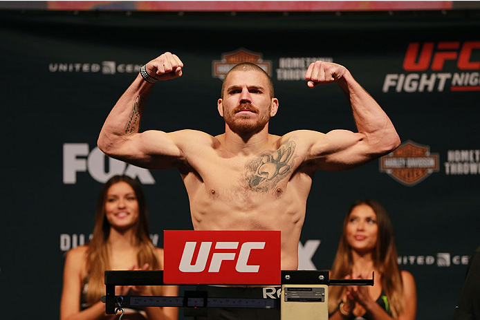 CHICAGO, IL - JULY 24:  Jim Miller steps on the scale during the UFC weigh-in at the United Center on July 24, 2015 in Chicago, Illinois. (Photo by Rey Del Rio/Zuffa LLC/Zuffa LLC via Getty Images)