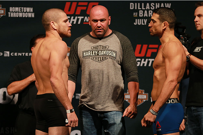 CHICAGO, IL - JULY 24:   (L-R) Opponents Jim Miller and Danny Castillo face off during the UFC weigh-in at the United Center on July 24, 2015 in Chicago, Illinois. (Photo by Rey Del Rio/Zuffa LLC/Zuffa LLC via Getty Images)