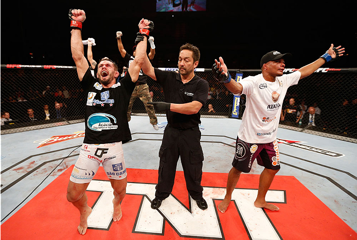 JARAGUA DO SUL, BRAZIL - FEBRUARY 15:  Rodrigo Damm reacts after his decision victory over Ivan Jorge in their lightweight fight during the UFC Fight Night event at Arena Jaragua on February 15, 2014 in Jaragua do Sul, Santa Catarina, Brazil. (Photo by Josh Hedges/Zuffa LLC/Zuffa LLC via Getty Images)