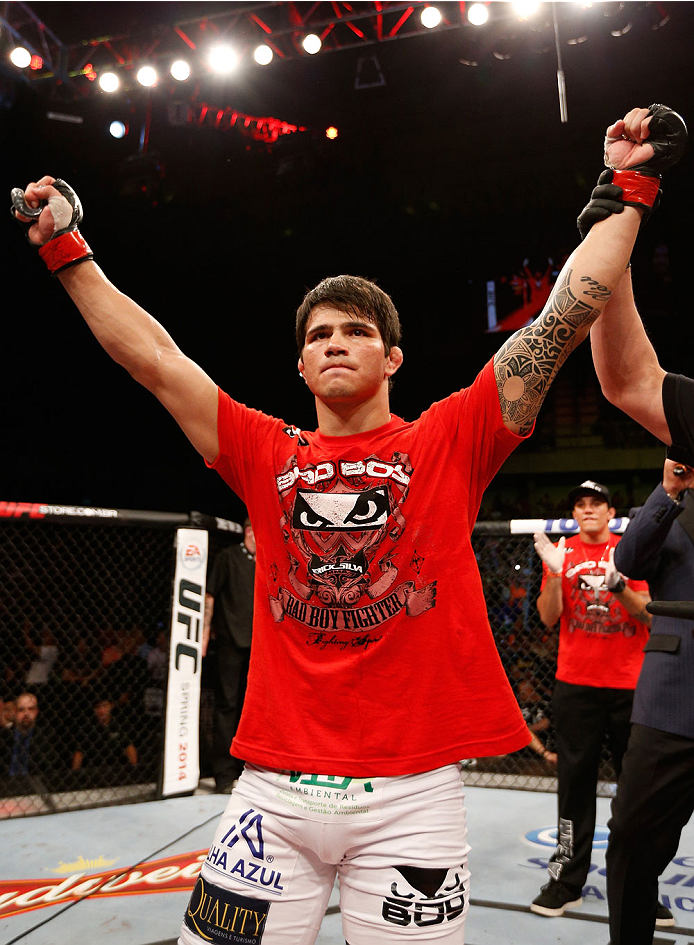 JARAGUA DO SUL, BRAZIL - FEBRUARY 15:  Erick Silva reacts after his TKO victory over Takenori Sato in their welterweight fight during the UFC Fight Night event at Arena Jaragua on February 15, 2014 in Jaragua do Sul, Santa Catarina, Brazil. (Photo by Josh Hedges/Zuffa LLC/Zuffa LLC via Getty Images)