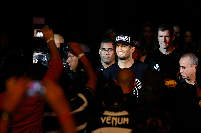 JARAGUA DO SUL, BRAZIL - FEBRUARY 15:  Gegard Mousasi enters the arena before his middleweight fight against Lyoto Machida during the UFC Fight Night event at Arena Jaragua on February 15, 2014 in Jaragua do Sul, Santa Catarina, Brazil. (Photo by Josh Hedges/Zuffa LLC/Zuffa LLC via Getty Images)
