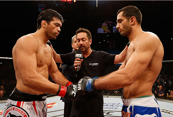 JARAGUA DO SUL, BRAZIL - FEBRUARY 15:  (L-R) Opponents Lyoto Machida and Gegard Mousasi face off before their middleweight fight during the UFC Fight Night event at Arena Jaragua on February 15, 2014 in Jaragua do Sul, Santa Catarina, Brazil. (Photo by Josh Hedges/Zuffa LLC/Zuffa LLC via Getty Images)