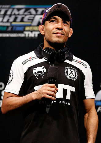 FORTALEZA, BRAZIL - JUNE 07:  UFC featherweight champion Jose Aldo interacts with fans during a Q&A session before the UFC weigh-in at Paulo Sarasate Arena on June 7, 2013 in Fortaleza, Ceara, Brazil.  (Photo by Josh Hedges/Zuffa LLC/Zuffa LLC via Getty Images)
