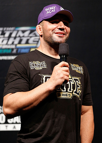 FORTALEZA, BRAZIL - JUNE 07:  Glover Teixeira interacts with fans during a Q&A session before the UFC weigh-in at Paulo Sarasate Arena on June 7, 2013 in Fortaleza, Ceara, Brazil.  (Photo by Josh Hedges/Zuffa LLC/Zuffa LLC via Getty Images)