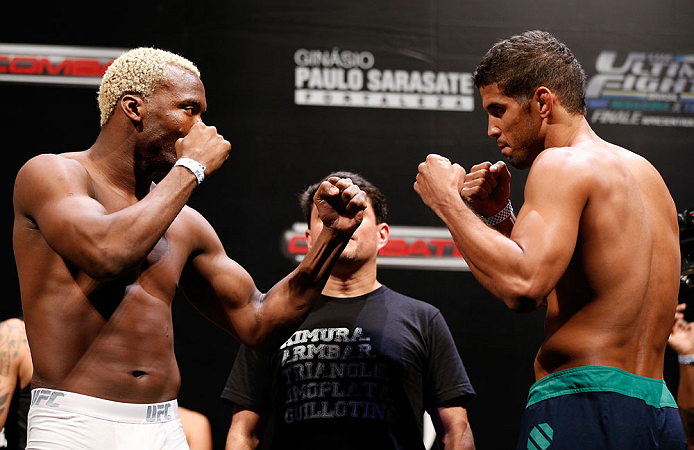 "FORTALEZA, BRAZIL - JUNE 07:  (L-R) Opponents William ""Patolino"" Macario and Leonardo Santos face off during the UFC weigh-in at Paulo Sarasate Arena on June 7, 2013 in Fortaleza, Ceara, Brazil.  (Photo by Josh Hedges/Zuffa LLC/Zuffa LLC via Getty Images)"