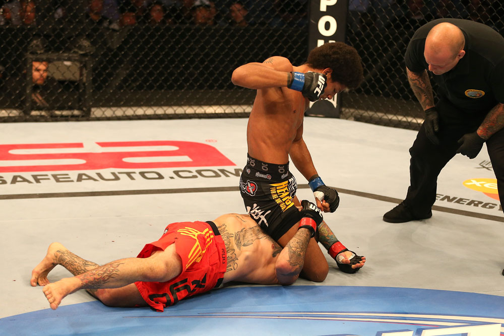 SAN JOSE, CA - JULY 11:   Alex Caceres (top) attempts to submit Damacio Page during their bantamweight bout at HP Pavilion on July 11, 2012 in San Jose, California.  (Photo by Ezra Shaw/Zuffa LLC/Zuffa LLC via Getty Images)  *** Local Caption *** Damacio Page; Alex Caceres