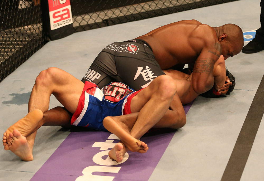 SAN JOSE, CA - JULY 11:   Francis Carmont (black shorts) attempts to submit Karlos Vemola during their middleweight bout at HP Pavilion on July 11, 2012 in San Jose, California.  (Photo by Ezra Shaw/Zuffa LLC/Zuffa LLC via Getty Images)  *** Local Caption *** Karlos Vemola; Francis Carmont
