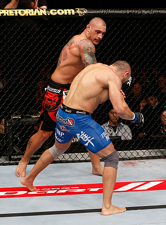 MACAU, MACAU - NOVEMBER 10: (L-R) Thiago Silva punches Stanislav Nedkov during their light heavyweight bout at the UFC Macao event inside CotaiArena on November 10, 2012 in Macau, Macau. (Photo by Josh Hedges/Zuffa LLC/Zuffa LLC via Getty Images)