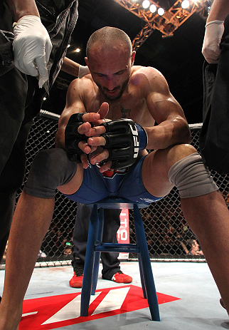 MACAU, MACAU - NOVEMBER 10: Stanislav Nedkov reacts after losing to Thiago Silva by submission during their light heavyweight bout at the UFC Macao event inside CotaiArena on November 10, 2012 in Macau, Macau. (Photo by Josh Hedges/Zuffa LLC/Zuffa LLC via Getty Images)