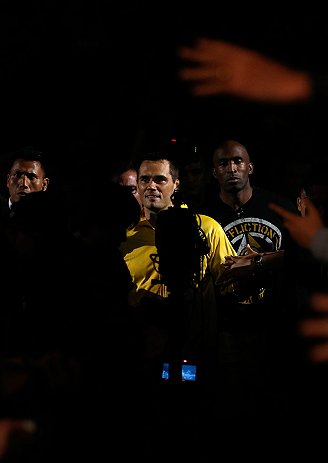 MACAU, MACAU - NOVEMBER 10: Rich Franklin enters the arena before his middleweight bout against Cung Le at the UFC Macao event inside CotaiArena on November 10, 2012 in Macau, Macau. (Photo by Josh Hedges/Zuffa LLC/Zuffa LLC via Getty Images)