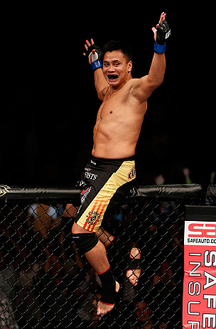 MACAU, MACAU - NOVEMBER 10: Cung Le reacts after knocking out Rich Franklin during their middleweight bout at the UFC Macao event inside CotaiArena on November 10, 2012 in Macau, Macau. (Photo by Josh Hedges/Zuffa LLC/Zuffa LLC via Getty Images)