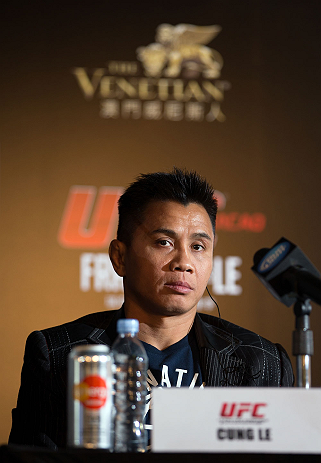 HONG KONG - NOVEMBER 07:  Cung Le looks on uring a UFC press conference at Harbour City Mall on November 7, 2012 in Hong Kong, Hong Kong.  (Photo by Josh Hedges/Zuffa LLC/Zuffa LLC via Getty Images)