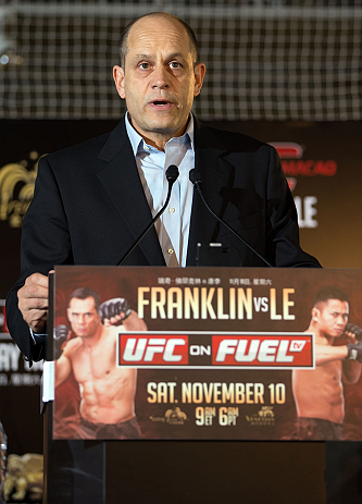 HONG KONG - NOVEMBER 07:  Marc Fischer, vice president of UFC&#39;s Asia division, speaks during a UFC press conference at Harbour City Mall on November 7, 2012 in Hong Kong, Hong Kong.  (Photo by Josh Hedges/Zuffa LLC/Zuffa LLC via Getty Images)