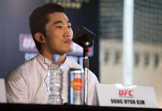 HONG KONG - NOVEMBER 07:  Dong Hyun Kim speaks during a UFC press conference at Harbour City Mall on November 7, 2012 in Hong Kong, Hong Kong.  (Photo by Josh Hedges/Zuffa LLC/Zuffa LLC via Getty Images)