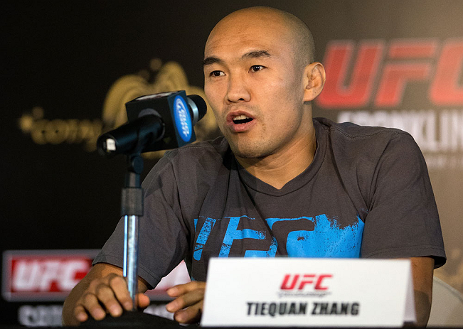 HONG KONG - NOVEMBER 07:  Tiequan Zhang speaks during a UFC press conference at Harbour City Mall on November 7, 2012 in Hong Kong, Hong Kong.  (Photo by Josh Hedges/Zuffa LLC/Zuffa LLC via Getty Images)
