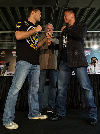 HONG KONG - NOVEMBER 07:  (L-R) Opponents Rich Franklin and Cung Le face off during a UFC press conference at Harbour City Mall on November 7, 2012 in Hong Kong, Hong Kong.  (Photo by Josh Hedges/Zuffa LLC/Zuffa LLC via Getty Images)