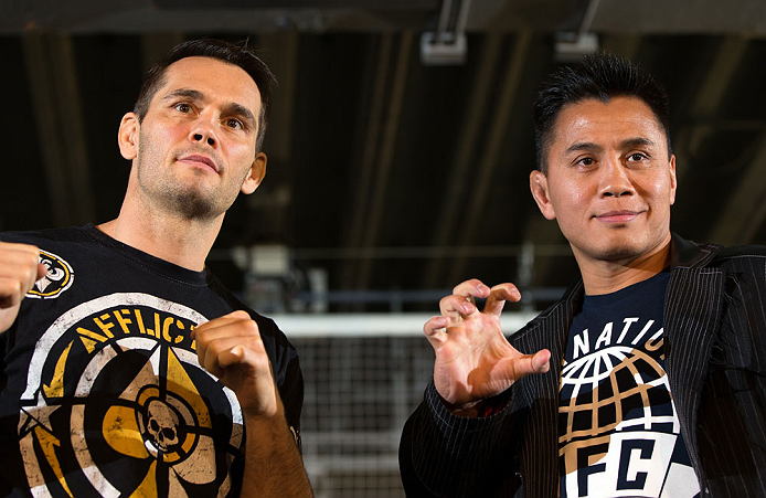 HONG KONG - NOVEMBER 07:  (L-R) Opponents Rich Franklin and Cung Le pose for photos during a UFC press conference at Harbour City Mall on November 7, 2012 in Hong Kong, Hong Kong.  (Photo by Josh Hedges/Zuffa LLC/Zuffa LLC via Getty Images)